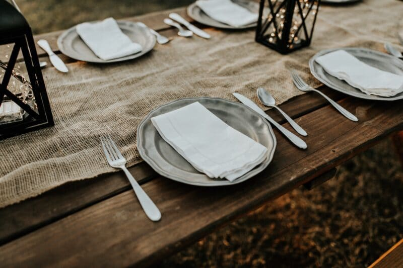 plate with silverware on table